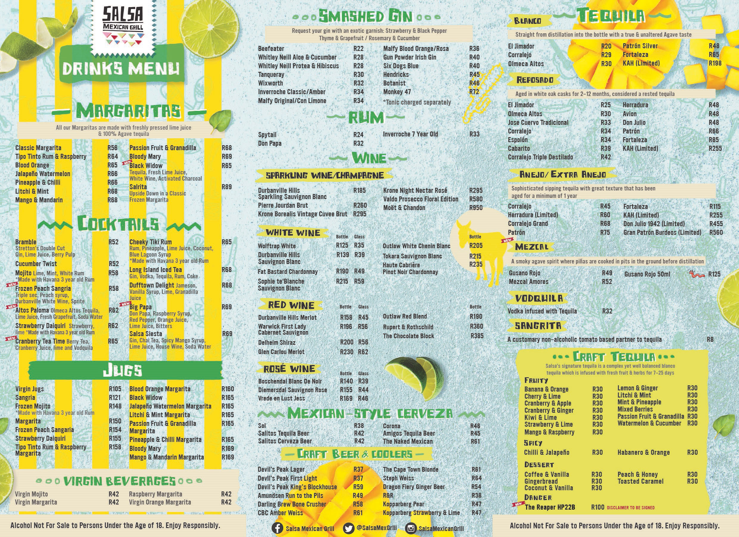 Full Menu Salsa Mexican Grill